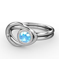 Düğüm Yüzük - Akuamarin 925 ayar gümüş yüzük #1fyhmp9