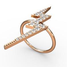 Şimşek Yüzük - Swarovski 925 ayar rose altın kaplama gümüş yüzük #1b0l896