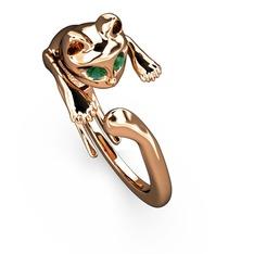 Kedi Yüzük - Yeşil kuvars 925 ayar rose altın kaplama gümüş yüzük #1gawhpw