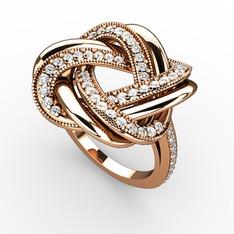 Arvia Yüzük - Beyaz zirkon 925 ayar rose altın kaplama gümüş yüzük #1cezu8h